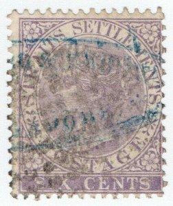 (I.B) Malaya (Straits Settlements) Postal : 6c Dull Lilac (SG 13)