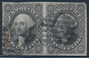#17 F-VF USED PAIR WITH BLACK & RED CANCELS CV $605 BT4224