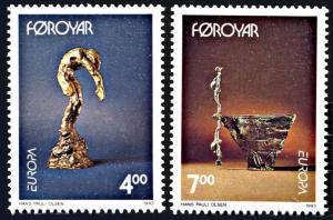 Faroe Islands 252-253, MNH, Europa Sculptures