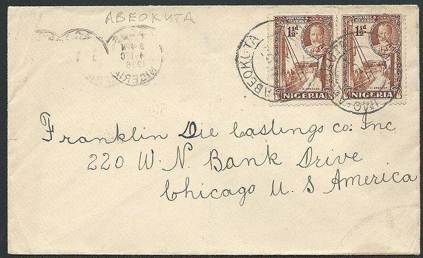 NIGERIA 1936 cover ABEOKUTA to USA - Lagos airmail slogan on reverse.......45848