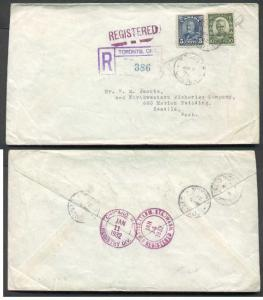 Canada #4393 - double rate -10c Cartier + 5c KGV arch reg'd - York Cty-Toronto