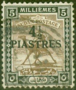 Sudan 1941 4 1/2p on 5m Olive-Brown & Black SG79 Fine Used (4)