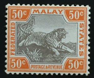 Malaya Federated Malay States FMS 1922-34 Tiger 50c MLH MSCA SG#74b M1860