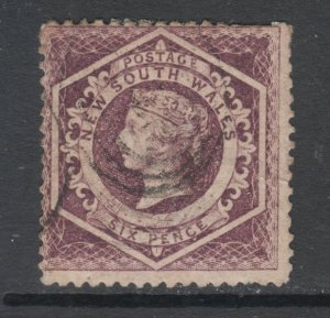 New South Wales Sc 40, used. 1860 6p violet Diadem, inverted watermark, sound