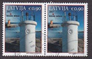 Latvia # 971, Rojas Lighthouse, Used Pair, 1/2 Cat.