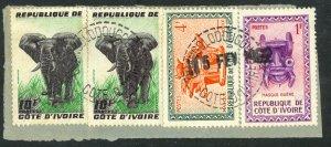 IVORY COAST OUANGOLODOUGOU Postmark w Handstamp Date Piece Sc 167,172,174 VFU
