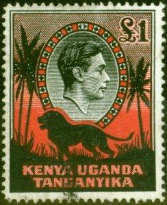 K.U.T 1941 £1 Black & Red SG150a P.14 Fine Used