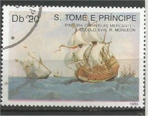 ST. THOMAS AND PRINCE, 1989, used 20d, Merchant ships Scott 895