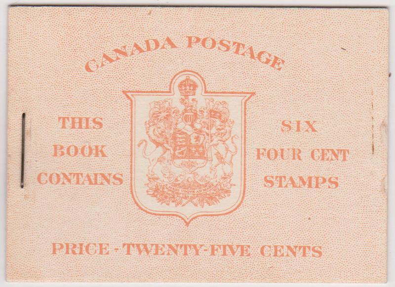 Canada USC #BK36h 4c Carmine Pane os Six in Complete English Booklet