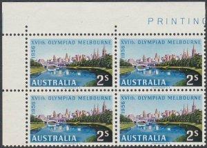 AUSTRALIA 1956 Olympic Games 2/- block of 4 MNH..............................859