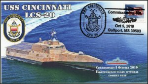 19-253, 2019, USS Cincinnati, Pictorial Postmark, Event Cover, LCS-20