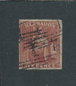 BARBADOS 1858 6d DEEP ROSE-RED FOUR MARGINS FU SG 11a CAT £180