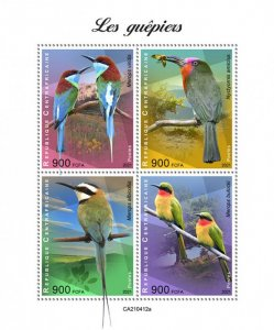 C A R - 2021 -Bee-eaters - Perf 4v Sheet - Mint Never Hinged