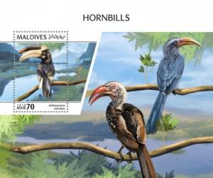 Maldives - 2018 Hornbills on Stamps - Stamp Souvenir Sheet MLD181008b
