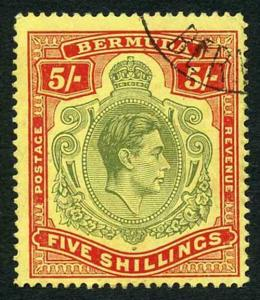 Bermuda SG118b KGVI 5/- Pale Green and Red/yellow Line Perf 14.25 (Ref 14)
