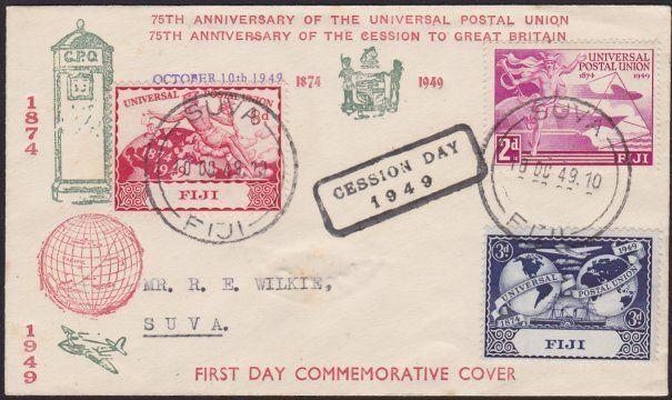 FIJI 1949 UPU FDC with CESSION DAY handstamp................................2476