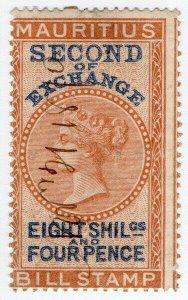 (I.B) Mauritius Revenue : Bill of Exchange 8/4d (Second)