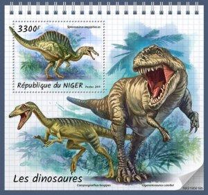 NIGER - 2019 - Dinosaurs - Perf Souv Sheet - MNH
