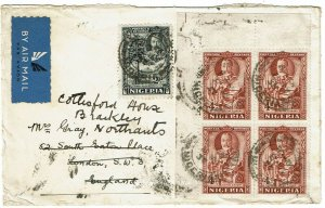Nigeria 1937 Lagos cancel on airmail cover to England
