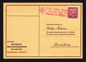 Czechoslovakia 1938 Card / Nazi Slogan Cancel - Z14159