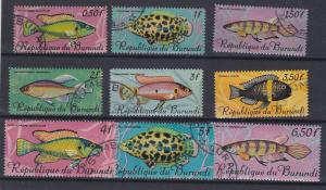 Burundi # 186-201, C46-54. Fish., Incomplete Set, Used, 1/3 Cat.