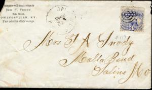 US OWINGSVILLE, KY 5/11/1876 3C RATE COVER TO SALINE, MO AS SHOWN