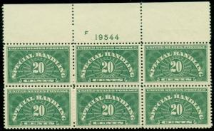 US #QE3 20¢ Spec. Handling, Plate No. Block of 6, og, NH, Scott $150