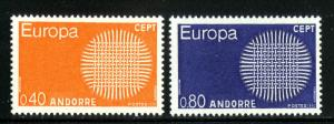 FRENCH ANDORRA 196-7 MNH SCV $20.00 BIN $12.50 EUROPA