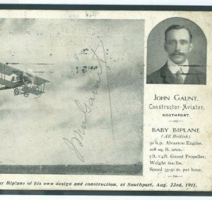 GB PIONEER AVIATION Card JOHN GAUNT Constructor SIGNED Southport 1911 948c