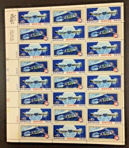 1569-1570  Apollo Soyuz  Space mission MNH 10 c Sheet of 24   FV $2.40  1975