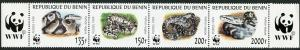 Benin 1086 ad strip,MNH.Michel 1159-1162. WWF 1999.Python Regius.