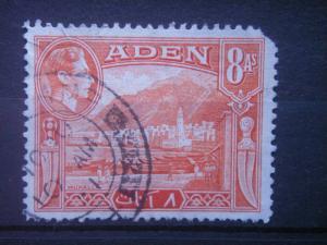 ADEN, 1939, used 8a, Mukalla. Scott 23, damage