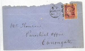 BK43 GB BRUNSWICK STAR CANCEL 1863 GB Edinburgh Penny Red Cover {samwells}PTS