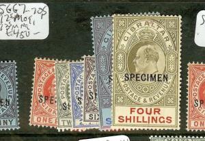 GIBRALTAR (P0208B)  KE SG67-70S, 72S  MOG, 73S MNG  SPECIMEN  SPECIMEN MNG