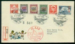 GREENLAND 1960 Anniv. Flight registered cover w/scarcer Scott #s19-21 ($225.00)