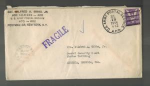 1944 USA Army Cover APO 682 Tel Litwinsky Palestine to Augusta GA Wilfred Gibbs