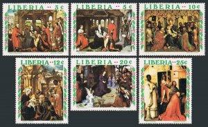 Liberia 534-539,540,MNH.Mi 762-767,Bl.53. Christmas 1970.Van der Weyden,Mantegna