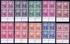 SARAWAK — SCOTT 159//168 (SG 150//159) — 1947 OVPT BLOCKS/4 — MNH — SCV $24.40+
