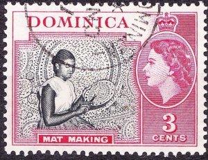 DOMINICA 1957 QEII 3 Cents Black & Carmine SG144 FU