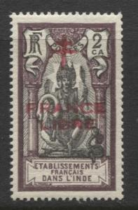French India - Scott 157 -Overprint Libre Issue-1942 MVLH- Single 2ca Stamp
