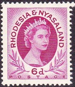 RHODESIA & NYASALAND 1954 EQII 6d Bright Reddish Purple SG7 MH