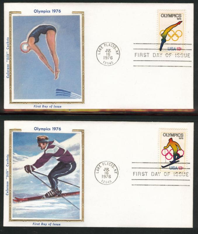 1695-98 FDC Olympic Stamps on Colorano Silk Caches U/A