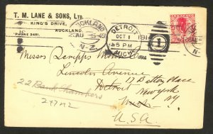 NEW ZEALAND 1914 TM LANE & SONS Corner Card 1d Sc 131 Cover to USA Redirected