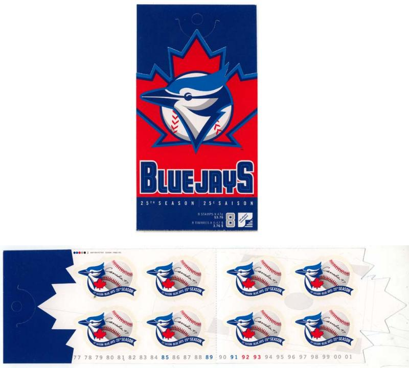 Canada USC #BK242b Pane of Eight 47c Blue Jays in Complete Open Cover Booklet