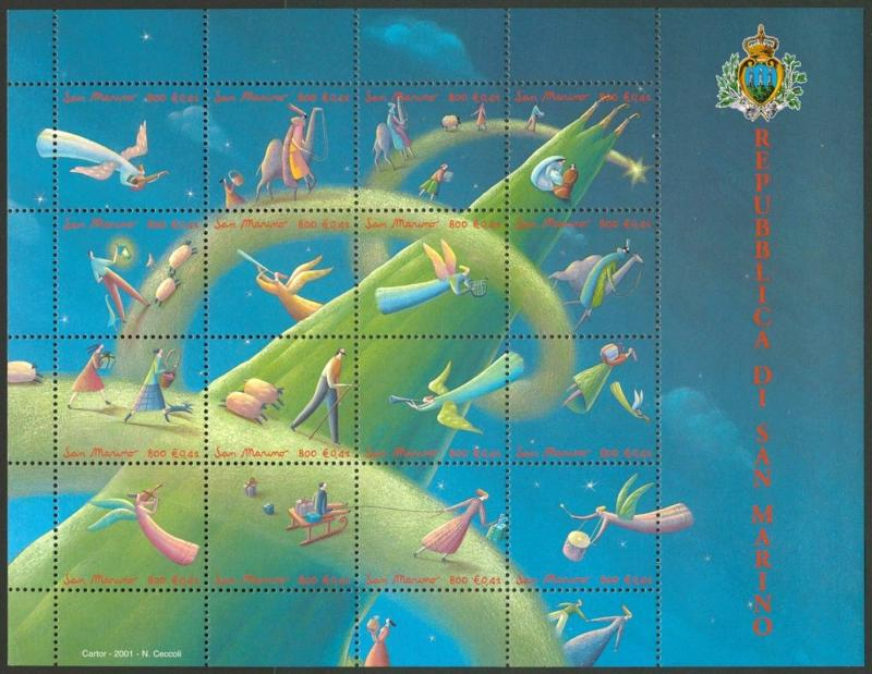 San Marino 1519 MNH Christmas, Angels, Music, Dog