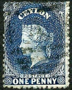 Ceylon SG63 1d Dull Blue wmk Crown CC 21.5 mm Cat 18 pounds