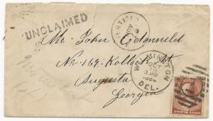 US Scott #210 on Cover Wilmington, DE October 20, 1884 Unclaimed