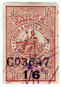 (I.B) London & North Western Railway : Parcel Stamp 1/6d on 1/6d OP