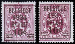 Belgium Scott 256, 309 (1934, 1937) Mint H NG F-VF, CV $16.25
