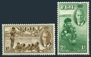 Fiji B1-B2 two sets,MNH.Mi 120-121. George VI,1951.Children at Play,Rugby player